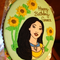 Pocahantas   Pocahantas done in buttercream transfer with sunflower design