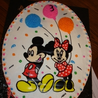 Mickey And Minnie With Balloons   Mickey and Minnie done as a buttercream transfer with mini cake balloons.