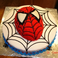 Spiderman   Spidermans face on a web cake with little spiders on the bottom edge.