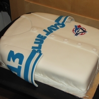 Blue Jays Jersey Blue Jays Jersey, covered in fondant. Logo is made from color flow. :)