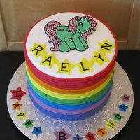 My Little Pony Birthday My Little Pony, Rainbow cake. All fondant, except the My Little Pony, she is made from Color Flow. I dyed white cake in the colors of the...