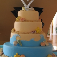 "Beach Themed Wedding Cake Beach theme wedding cake I created for my beautiful cousin :).Tiers are covered in fondant, ""sand"" is brown sugar, and shells are..."
