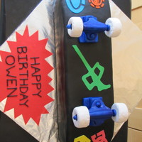 "Skateboard For The Birthday Boy Cake covered in fondant, ""stickers"" are made from a mix of gumpaste and fondant. Wheels made from Rice Krispy Treats, and the..."