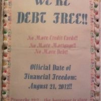 We're Debt Free! Cake  We recently became debt free...no more bills, no more credit cards, no more mortgage!! We celebrated by having a potluck at our church....