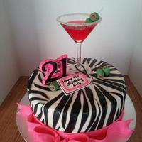 21St Birthday Cake *Zebra stripes and hot pink bow. Real strawberry daiquiri jello shot