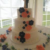 Navy And Coral Wedding Cake *