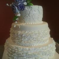 Ruffles And Lace Wedding Cake *This was my first attempt at ruffles. The cake is chocolate with belgium chocolate mousse filling and homemade MMF.