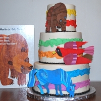 "Brown Bear, Brown Bear Cake This cake is based on the book ""Brown Bear, Brown Bear What Do You See?"" which is illustrated by Eric Carle. I was a bit..."