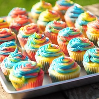 Rainbow Cuppies Birthday girl wanted rainbow cupcakes. To make the multi-colored swirl on top of the cupcakes, I filled three different icing bags with...