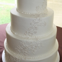 Lace Wedding Cake Butter cream cake piped to look like the Brides veil