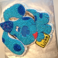 Blues Clues Vanilla cake with nutella filling. By the time my daughter in law told me what cake she wanted for luke it was too late to purchase the...