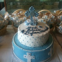 "Dylans First Communion Buttercream with fondant decorations, and Chocolate Cross. 14"" wasc with strawberry filling. 10"" chocolate cake with cookie &amp..."