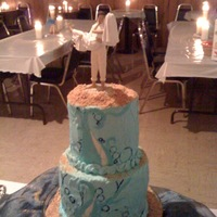 Water/beach Influenced Wedding Reception Cake The bride fell in love with an ocean inspired cake found online. Here's my version of it. Although the wedding and reception was...