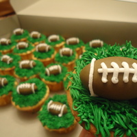 Football Cupcakes Ran a contest for my facebook fans and this is what the winner got for their superbowl party :)