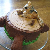 Chipmunk Cake Fondant chipmunk sitting on chocolate cake
