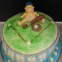 Baseball Baby Shower Cake  Friend wanted the cake to match the invitation. The MMF was not working with me and kept trying to slide off the cake. Matching cookies and...