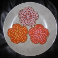 Pretty Flowers  My friend was throwing a bridal shower and asked me to make some cookies that matches the flowers in the invitations. This is what I came...