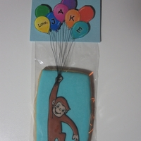 Curious George With Balloons My friend asked me if I could make her Curious George cookies for her son's first birthday. When I think of Curious George I picture...