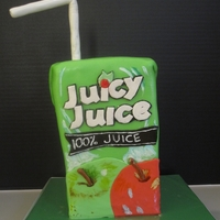 Juicy Juice Cake Here is the matching juicy juice cake to go along with the cookies that I made. Vanilla cake covered with fondant. Tried to paint some...