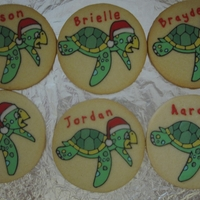 Honu Cookies  These I made for my son's preschool class. They are the Honus (turtle in Hawaiian) so I thought it would be cute to make personalized...