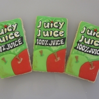 Juicy Juice Box Cookies  These were for a friend. Her son is turing one and for some reason they had nicknamed him Juicy Juice. So for his party its a juicy juice...