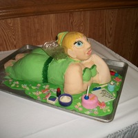 Tinkerbell Disaster WASC confetti cake with cream cheese frosting and MMF. After construction her RKT head (my 1st time working with RKT) fell off crushing...