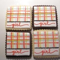 Baby Girl Plaid Squares Plaid girly squares for a baby shower. Vanilla & chocolate sugar cookies with a modified RI. Design inspired by JP Creatibles. Sorry...