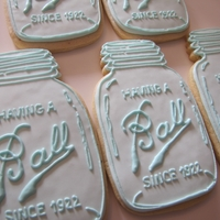 "Ball Mason Jar Birthday Cookies A friend asked me to make these for a 90th birthday party after seeing a picture on Pinterest. 5"" vanilla sugar cookies with a..."