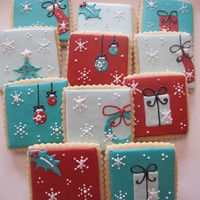 Christmas Cookies Set of scalloped square Christmas cookies, inspired by a set from Flying Pig Party Productions. The color palette was inspired by a gift...