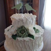 Wedding Cake For My Cousin Vanilla With Lots Of Vanilla Buttercream Fondant Succulent Roses And Birds Tfl Wedding Cake for My Cousin. Vanilla with lots of vanilla buttercream. Fondant succulent, roses and birds. TFL