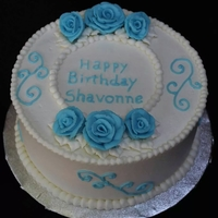 Blue And White Birthday Cake Wedding White Cake With Almond Buttercream Filling And Icing Buttercream Roses Blue and White Birthday Cake. Wedding white cake with almond buttercream filling and icing. Buttercream roses.