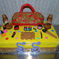 Lv Birthday Cake I made this LV cake with shoes and make-up for a Friends birthday.