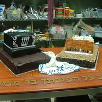 Double Bar Mitzvah Cake One part of the cake representsTaffilin and another one - Western Wall.