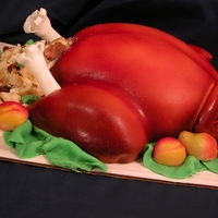 Thanksgiving Turkey Just one more turkey. This time as a cake. Pretty simple, does not take too much time, but having an air brush helps a lot. Cake is baked...