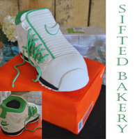 Grooms Cake His Favorite Basket Ball Shoes Box Is Cake And Shoe Is Carved Cake Covered In Fondant Grooms cake. His favorite basket ball shoes. Box is cake and shoe is carved cake covered in fondant.