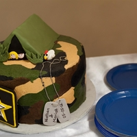 Camo Groom's Cake   Made for my husband's friend who is in the military. The chicken was added as an inside joke from college...haha. TFL