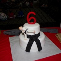 "Karate Cake  Made for my nephew's 6th bday. He designs his own cakes and I must follow to a ""t""! Too cute and this is his latest design..."
