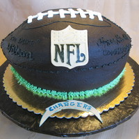 "Nfl Football Cake Gift for a dear neighbor and friend. Two 10"" oval sour cream buttermilk cakes, Oreo buttercream filling. Buttercream frosting, fondant..."