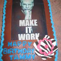 Project Runway Tim Gunn (project runway) edible image with Zebra and Pink flower. Chocolate raspberry cake.