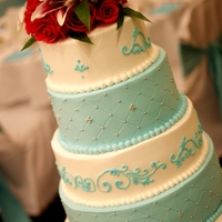 Best Friends Wedding So this is my husbands best friends wedding cake. They were a little hesitant to have 2 completely blue tiers but I assured them it would...