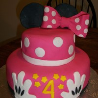 Minnie Mouse Cake minnie mouse cake for my daughter's birthday, decorated all in fondant