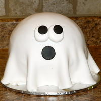 "Scared Ghostly cute little 6"" inch ghost. Used the half sphere pan for top layer."