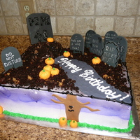 Over The Hill Half sheet cake- double layer. This cake was so huge! The picture does it no justice. fondant tombstones, pumpkins, and tree. dirt made...