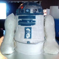 R2 D2 Star Wars Cake This is the second cake I have made for my husband 40th Birthday. 3 cakes were used to make R2D2: bottom is a coconut cake with a tequila/...