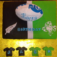 Birthday Cake For A Little Rugby Fan  This is a cake I have made for my former boss' oldest son. He is a Rugby fan and is part Irish part Kiwi. It is a chocolate cake with...