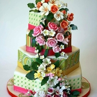 Sunny Paisley Hexagonal cakes with Lucks Edible Image Designer Sheets and gumpaste flowers