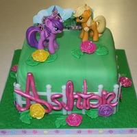 My Little Pony Fondant covered cake with MLP cake kit.