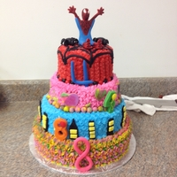 Spiderman And Tie Dye This is a combination boy-girl cake. The mom said to do something with spiderman and the girl likes tie dye. This is what I came up with....