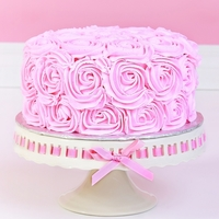"Buttercream Rose Cake - For Cake Smash Photo Session  I made this cake for a cake smash photo session. Cake is an 8"" vanilla cake with vanilla b/c filling. Cake is covered in pink b/c then..."