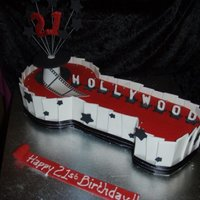 Hollywood 21St Cake Made in my decorating course-- we were practising making panels with fondant and gum trag as well as covering a shaped cake.It was a dummy...